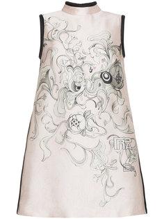 платье мини с цветочным принтом  Prada