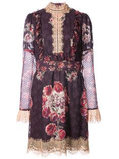 платье с высокой горловиной и принтом роз Anna Sui
