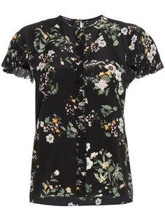 блузка с короткими рукавами и цветочным принтом  Rochas
