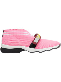 кроссовки с перфорацией и застежкой на липучке Fendi