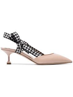туфли-лодочки с клетчатой лентой на пятке Miu Miu