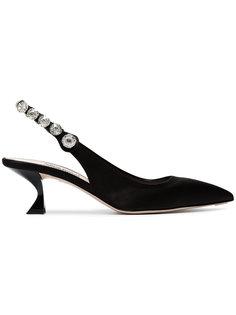 атласные туфли-лодочки с открытой пяткой Miu Miu