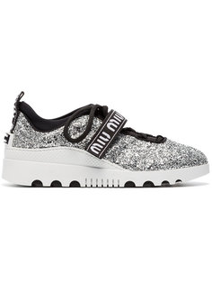 кроссовки со шнуровкой, блестками и логотипом Miu Miu