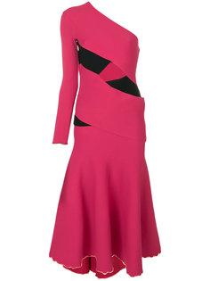 асимметричное расклешенное платье миди Proenza Schouler