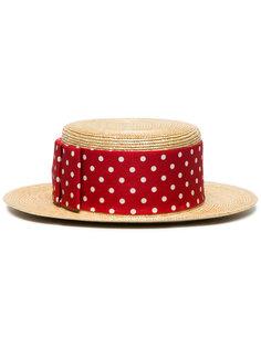 шляпа Boater в горох Miu Miu