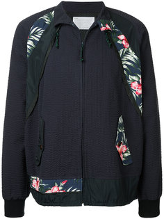 zipped floral patch jacket Kolor