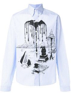 полосатая рубашка с графическим принтом  Prada