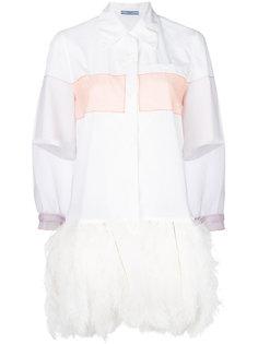 рубашка с рукавами из органзы  Prada