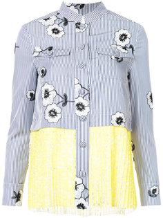 рубашка с цветочным узором и плиссировкой Huishan Zhang
