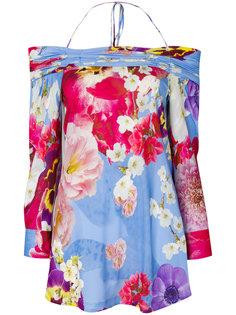 блузка с цветочным принтом с открытыми плечами Roberto Cavalli