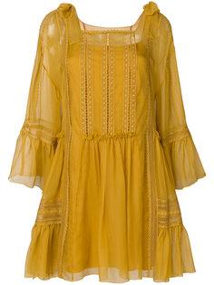платье с оборками и отделкой кроше Alberta Ferretti