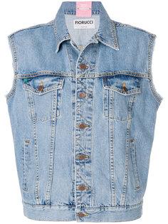 джинсовый жилет с надписью сзади  Fiorucci