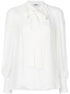 блузка с длинными рукавами и бантом  MSGM