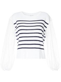 свитер в полоску с прозрачными рукавами Muveil