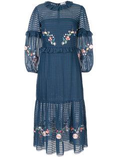 платье с цветочной вышивкой и оборками Vilshenko