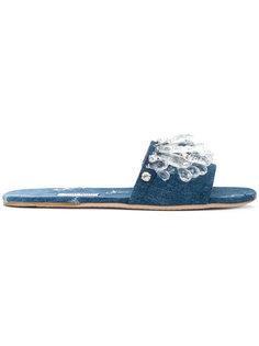 сандалии с украшением из камней и эффектом потертости Miu Miu