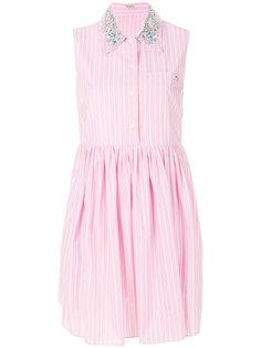 платье-рубашка в тонкую полоску Miu Miu