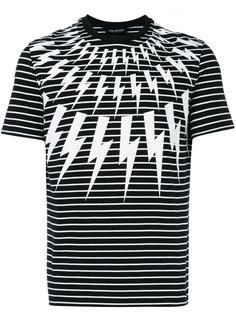 полосатая футболка с принтом вспышек молнии Neil Barrett