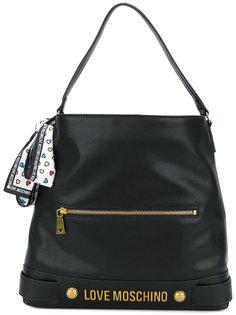 сумка-тоутс бляшкой с логотипом  Love Moschino