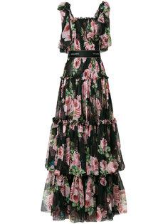 ярусное платье с цветочным принтом  Dolce & Gabbana