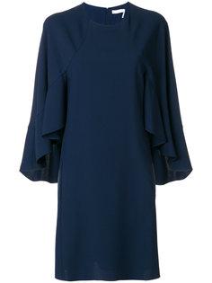 платье шифт с оборками на рукавах  Chloé
