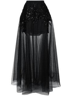декорированная прозрачная юбка макси Elie Saab