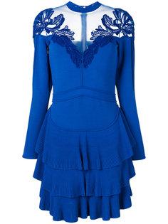 платье мини с плиссировкой и оборками Elie Saab