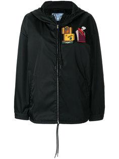 куртка на молнии с нашивками  Prada