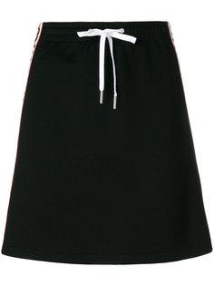юбка с контрастной полосой с логотипом  Miu Miu
