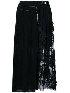 плиссированная юбка с цветочной аппликацией Aviù