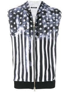 жилет с капюшоном и принтом Американского флага Balmain