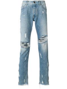 джинсы скинни с потертой отделкой Track Palm Angels