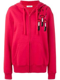 lipstick print hoodie Valentino
