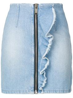 джинсовая юбка мини с оборками MSGM