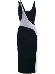приталенное платье-миди с контрастным дизайном Esteban Cortazar