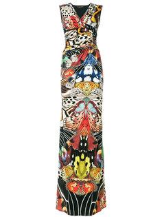 платье макси с тропическим принтом  Roberto Cavalli