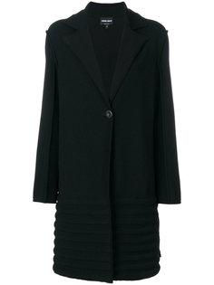 однобортное фактурное пальто Giorgio Armani