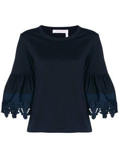 футболка с рукавами-колокол с кружевной отделкой See By Chloé