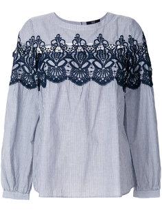 блузка в полоску с кружевной вставкой  Steffen Schraut