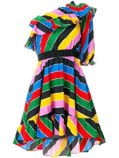 полосатое платье с рюшами Philosophy Di Lorenzo Serafini