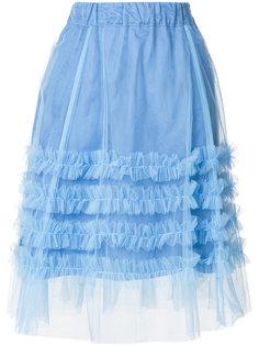 расклешенная юбка из тюля с рюшами P.A.R.O.S.H.