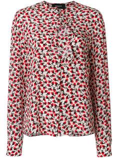 блузка с оборкой и цветочным принтом  Rochas