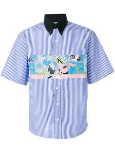 полосатая рубашка с контрастным воротником Prada