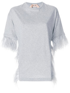 футболка с отделкой перьями  Nº21