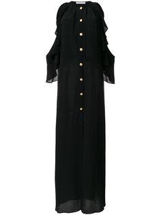 cold shoulder ruffle trim dress Pierre Balmain