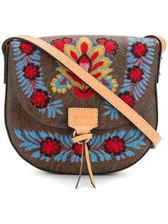 полукруглая сумка с цветочной вышивкой Etro