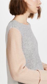 Autumn Cashmere Cuffed Colorblock Cashmere Sweater