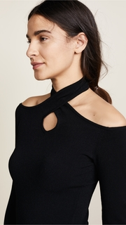Autumn Cashmere Cold Shoulder Halter Neck Sweater