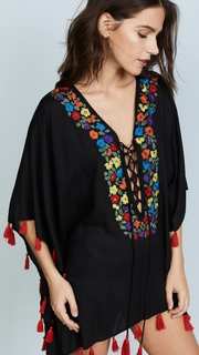 Bindya Floral Embroidery Lace Up Tunic