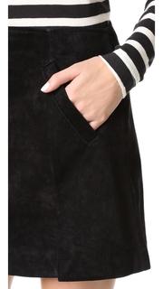 Blank Denim Zip Suede Mini Skirt